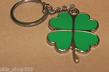 Lucky 4 leaf clover green and chrome full metal enamel Key chain us seller gift