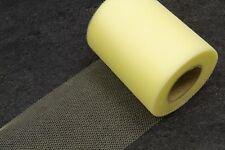 Rouleau tulle uni jaune pâle 10 cm x 20 m. Décoration mariage, baptême