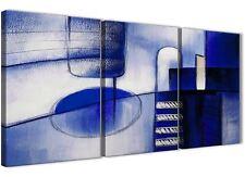 3 Pezzi Crema Blu Indaco Pittura Cucina Arte in Tela-ASTRATTO 3418 - 126 cm