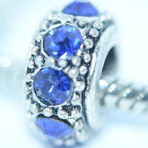 1Pc Silver Blue Stone Bead Charm Fit Eupropean Chain Bracelet Making Jewelry DIY