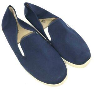 NEW Unisex No Brand Canvas Slip On Deck Shoe - Blue / White