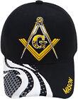 Mason Baseball Cap Freemasons Black Masonic Hat Masons, Compass and Square, Mens