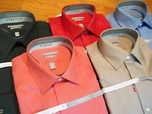 NWT, $45.MSRP Mens Van Heusen Wrinkle Free Pique Cotton Blend Fitted Dress Shirt