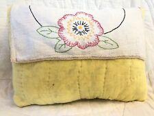 Prim Pillow~Vintage Quilt/Linen, Ooak Farmhouse, Cottage Chic, Spring, yellow