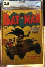 Batman #12 (1942) CGC 3.5 -- O/w to white pgs; 1st proto-Bat Cave; Joker app.