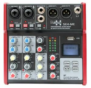 E-Lektron SE-4 Live Mischpult 2-Kanal + stereo AUX + USB/Bluetooth + Soundkarte