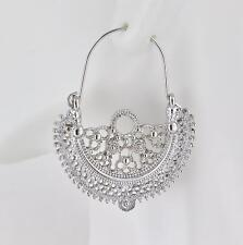 Silver earrings hoops filigree medallion earrings door knocker hoop huggie
