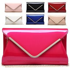 Ladies Fx Patent Envelope Style Clutch Bag Evening Bridal Party Handbag MA34876
