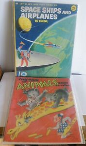 Set of 2 Vintage Coloring Books Animals & Space Ships - Airplanes
