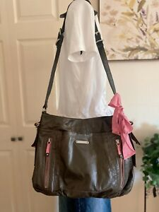 Juicy Couture Coated Cotton Olive Green Leather Strap Crossbody Hobo W/Pink Tie