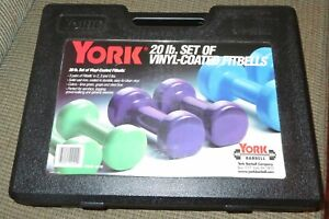 York 20 Pound Set of Vinyl Coated Fitbells Plastic Carrying Case Barbells README