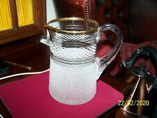 VINTAGE FROSTED GLASS JUG WITH GOLD RIM