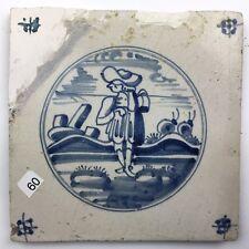 """Antike Fliese Kachel Delfter dutch tile """" Landschaptstegel """" 18./19. Jhd., Blau"""