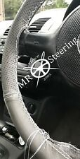 FOR VAUXHALL VECTRA C 02+ GREY TWO TONE LEATHER STEERING WHEEL COVER WHITE STICH