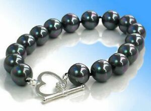 Fashion 10mm Black Shell Pearl White Gold Plated Heart Clasp Bracelet