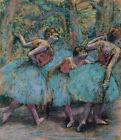 Three Dancers Bue Tutus Edgar Degas Ballerina Print CANVAS Painting Repro Small
