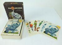 Vintage USSR Soviet Russian CAOHEHOK Elephant Animal Wood Block PUZZLE Set