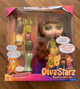 "Diva Starz 8"" Summer Talking Interactive Doll #27496 Mattel 2000 New Unopened"