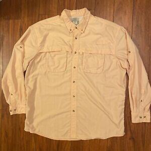 VTG LL Bean Hiking Fly Fishing Button Up Long Sleeve Shirt Men's XXL Vented Pink