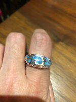 1980's Vintage Southwestern Silver Men's Turquoise Feather Inlay Ring Size 11