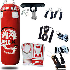 OneX 3Ft Filled Heavy Punch Bag Grappling Body Slam Man Pads Boxing Gloves MMA