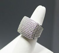 Mens Silver Hip Hop Ring Iced Out With Lab Simulated Diamonds