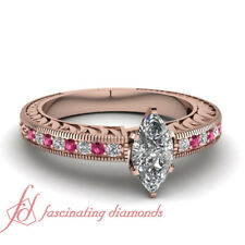 .90 Ct Marquise Diamond And Pink Sapphire Engraved Leaf Design Engagement Ring