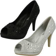 Stiletto Peep Toe Synthetic Formal Heels for Women