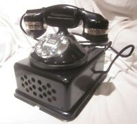 Automatic Electric 1A Round Base Dial Telephone & Metal Subset.