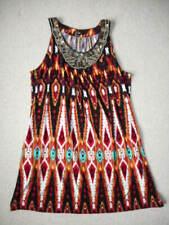 Womens Dress-APT. 9-black/brown/rust patterned stretch knit beaded trim slvls-XL