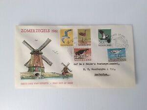 Netherlands 1961 FDC SUMMER STAMPS BIRDS high catalog