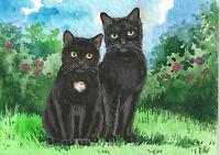 ACEO PRINT OF PAINTING TUXEDO BLACK CAT FLOWERS ROSE FOLK ART RYTA  WHIMSICAL
