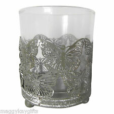 Large Butterfly Tealight Holder - Antique Style Pewter & Glass - 9cm (H)