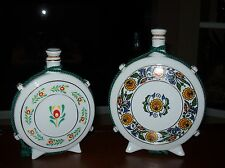 Vintage 2 Hand-painted Ceramic Decanter Jug Flask Bottle Stamped Hungary