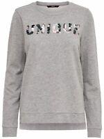 27/11 NEU ONLY Damen Sweat Pullover Shirt onlUNIQUE L/S O-NECK SWT  Gr. M  grau