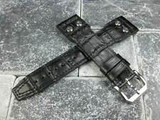 20mm Military Button Leather Strap Black Rivet Watch Band Top Gun IWC PILOT 20