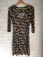 NEXT Women's Size 12 Black Beige Patterned Dress <L5148