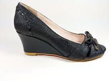 Tiamo Black Fabric Open Toe Wedge Heel Shoes Uk 4.5