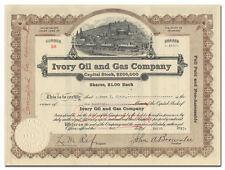 Ivory Oil and Gas Company Stock Certificate