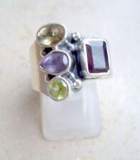 multicolor Ring Granat, Amethyst, Peridot, Citrin, 925er Silber, Gr. 17,5