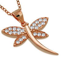 925 Sterling Silver Butterfly Dragonfly Pendant Necklace