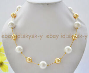 20'' 12mm Gold & 16mm White South Sea Shell Pearl Round Beads 14K Necklace
