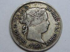 1860 MADRID 1 REAL SPAIN ISABEL II PLATA SPANISH PLATA SILVER