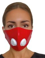 Face Mask Reusable Virus Washable Breathable Cotton Protection Red Eco-Leather