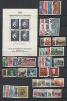 LIECHTENSTEIN 1934-1950, >60 stamps, CV $205, Used