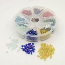 A Box of 6/0 4mm Assorted Transparent Glass lustre Seed Beads  J1539