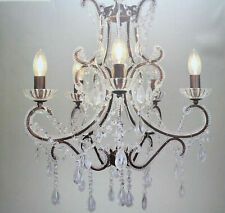 Victorian Style Bronzed Crystal Glass 5 Light Chandelier