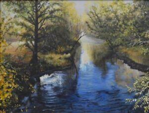 Robert West Serenity Forest Stream Original Oil Landscape Painting  24x30
