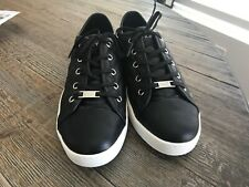 New listing NWOB $125 Nordstrom 11M DKNY Black Leather Quilted Tennis Athletic Casual Shoes