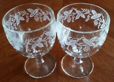 Vintage Bartlett Collins Frosted Grapes & Vines Thumbprint Goblet Set of 2